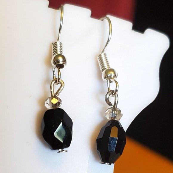 Silver Tone Hook Black Glass Bead Dangle Earrings